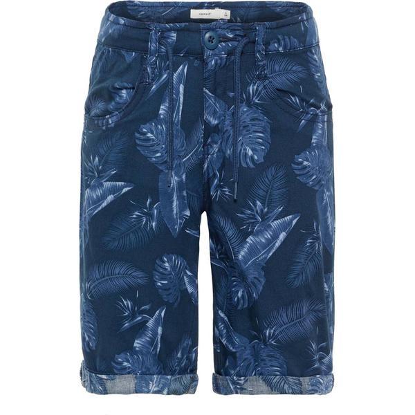 Name It Kid's Leaf Printed Shorts - Blue/Dark Sapphire (13166380)