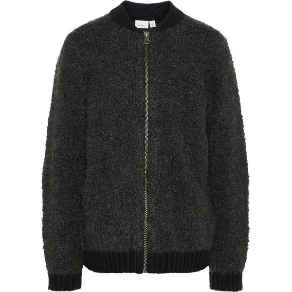 Name It Kid's Knitted Bomber Cardigan - Grey/Dark Grey Melange (13157378)