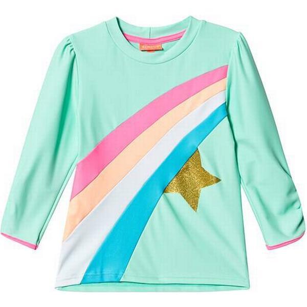 Sunuva Girl's Long Sleeved Rainbow Star Rash Vest - Aqua