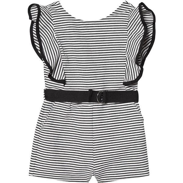 Bardot Ruffle Playsuit - Black Stripe (408757)