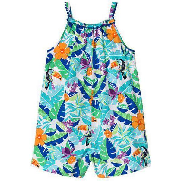 Lands End Little Girls Playsuit with Embroidered Trim - White Tropical Floral (495380)