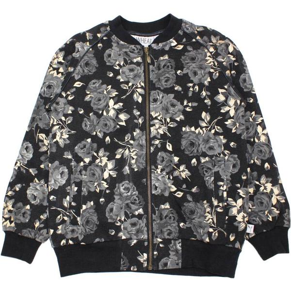 Wheat Feline Sweat Cardigan - Black Flower