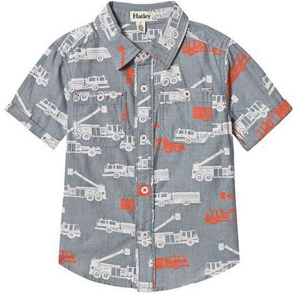 Hatley Distressed Firetrucks Short Sleeve Shirt - Grey (S19FTK1324)
