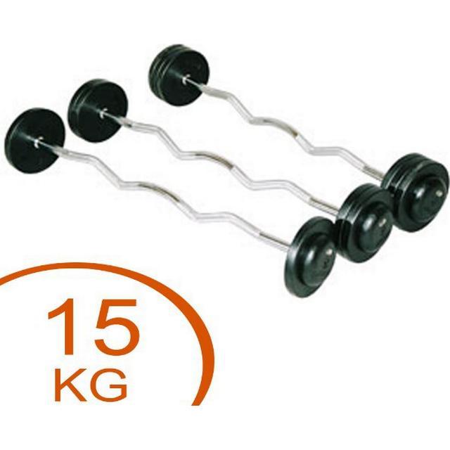 Eurosport Fixed Curl Rubber Barbell 15kg