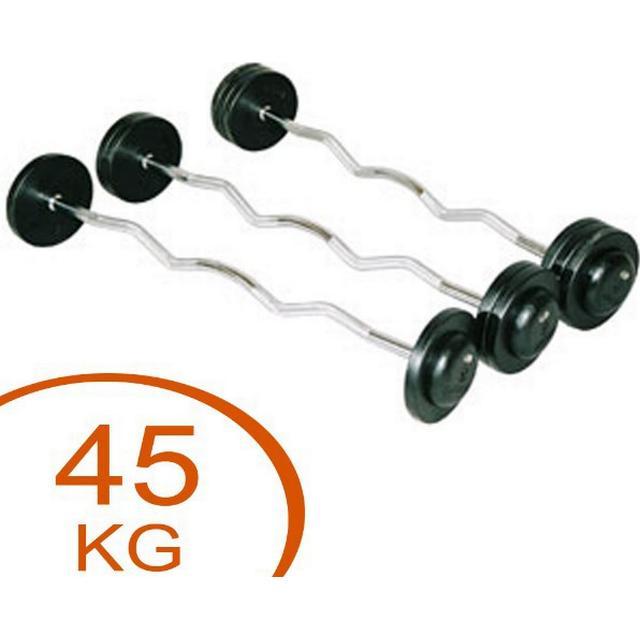 Eurosport Fixed Curl Rubber Barbell 45kg