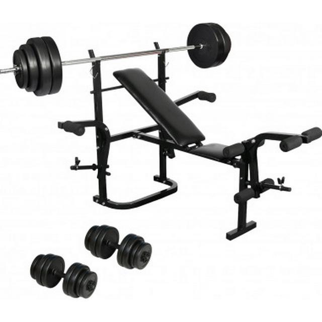 vidaXL Folding Weight Bench Dumbbell Barbell Set Home Fitness
