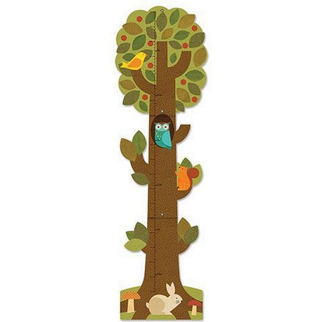 Petitcollage Højdemåler Træ med Skovens Dyr