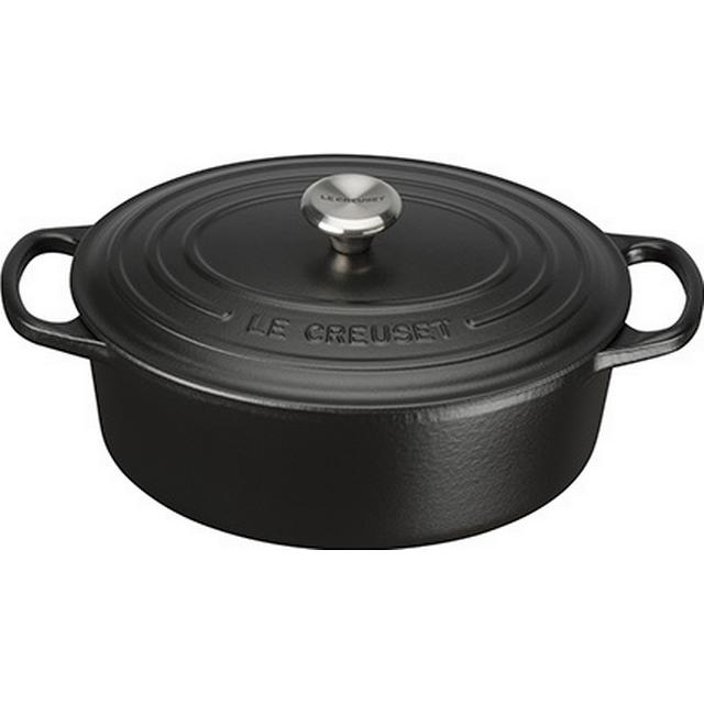 Le Creuset Satin Black Signature Cast Iron Oval Gryde med låg 25cm