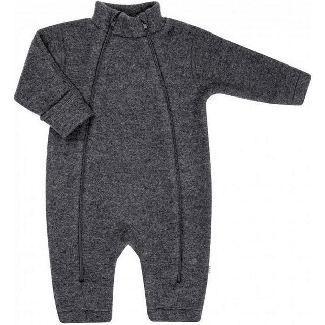 Joha Merino Wool Fleece Baby overall Pramsuit - Charcoal