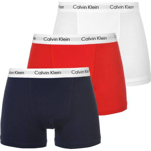 Calvin Klein Trunks Cotton Stretch 3-pack - White/Red Ginger/Pyro Blue