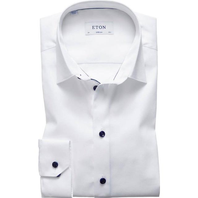 Eton Contemporary Fit Navy Details Twill Shirt - White