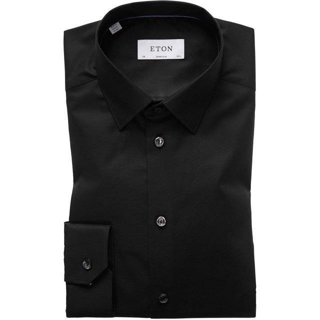 Eton Poplin Stretch Shirt - Black