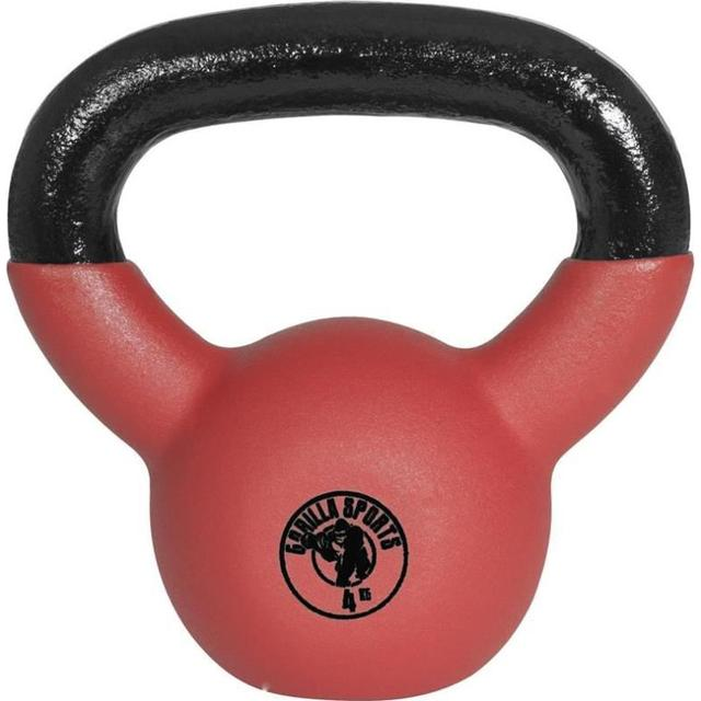 Gorilla Sports Rubber Coated Kettlebell 4kg