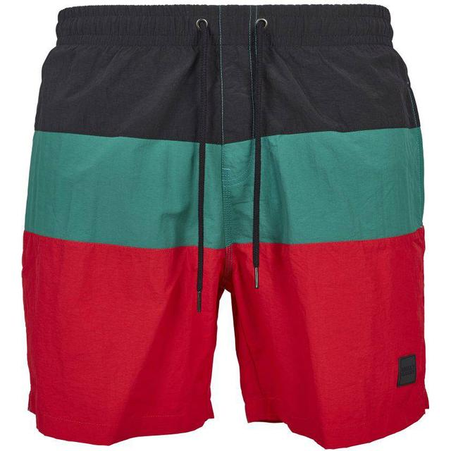 Urban Classics Color Block Swim Shorts - Firered/Black/Green