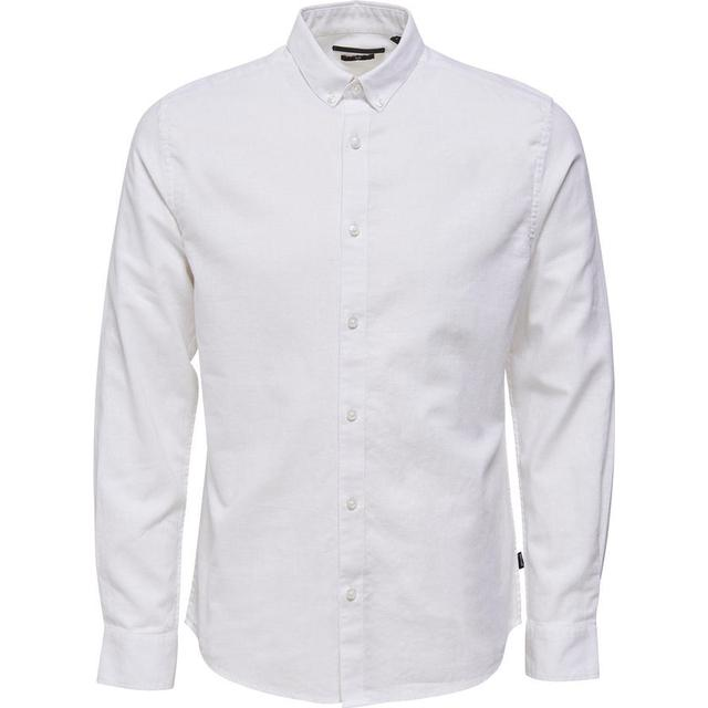 Only & Sons Solid Long Sleeved Shirt - White/White