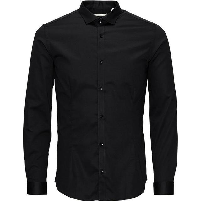 Jack & Jones Casual Slim Fit Long Sleeved Shirt - Black/Black