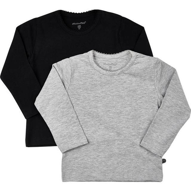 Minymo T-shirt LS 2-pak - Anthacite Black (3935-193)