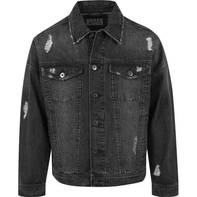 Urban Classics Ripped Denim Jacket - Black