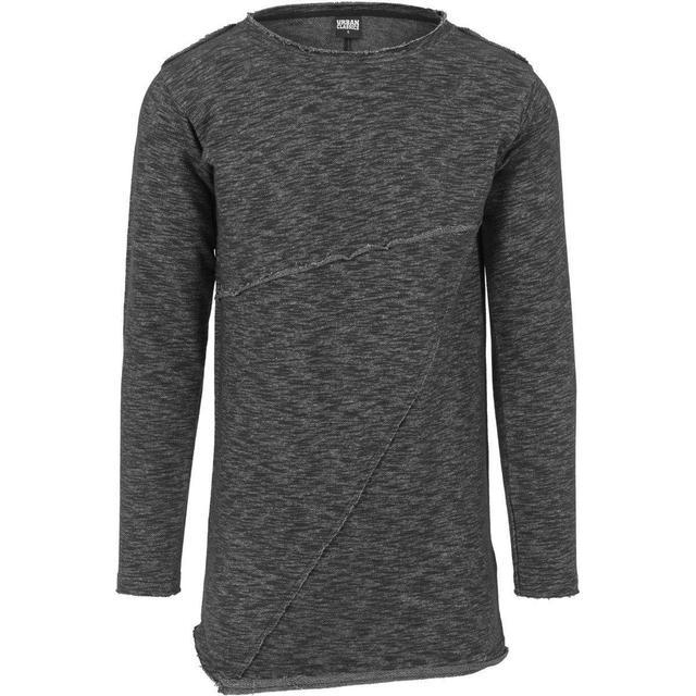 Urban Classics Fashion Long Terry Crew T-shirt - Black Melange