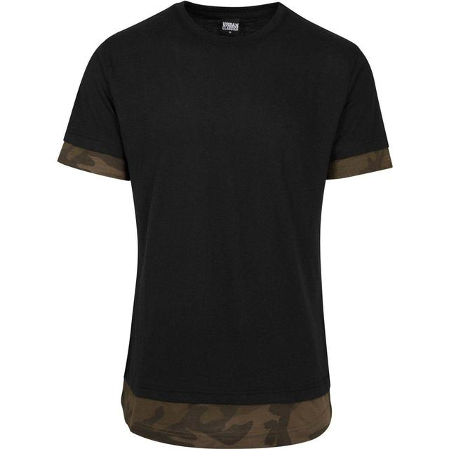 Urban Classics Long Shaped Camo Inset Tee - Black/Olive Camo