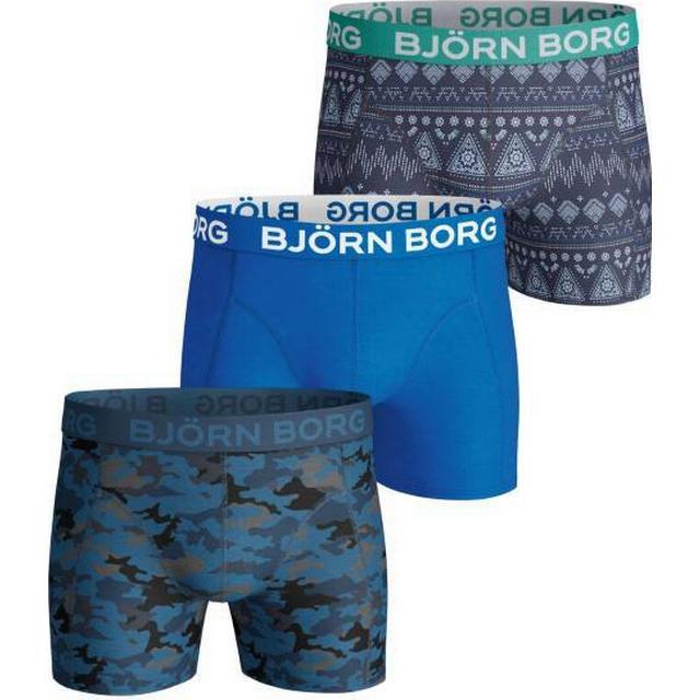Björn Borg Etno Stripe Cotton Stretch Shorts 3-pack - Navy
