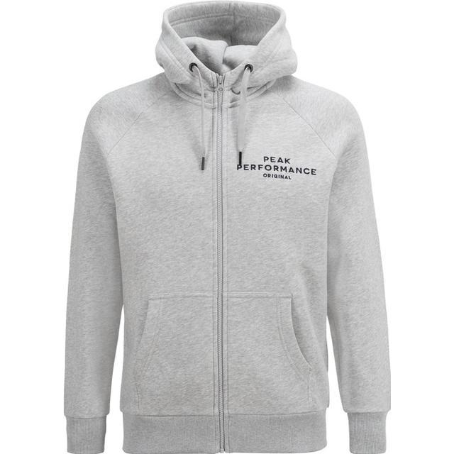 Peak Performance Logo Zip Hood - Med Grey Mel