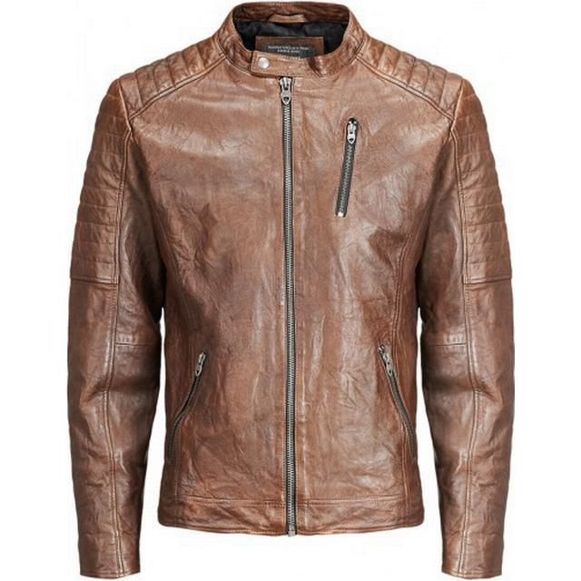 Jack & Jones Biker Leather Jacket Brown/Brown Stone