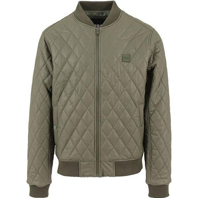 Urban Classics Diamond Quilt Leather Imitation Jacket Olive