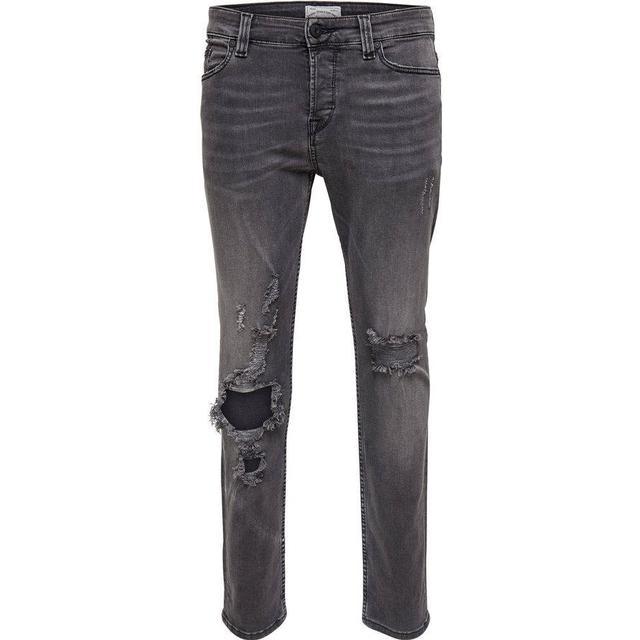 Only & Sons Loom Break Slim Fit Jeans - Grey/Dark Grey Denim