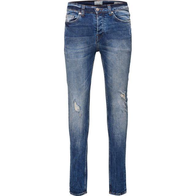 Only & Sons Loom Breaks Slim Fit Jeans - Blue/Medium Blue Denim
