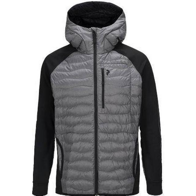 Peak Performance Helium Hybrid Melange Hooded Jacket - Grey Melange