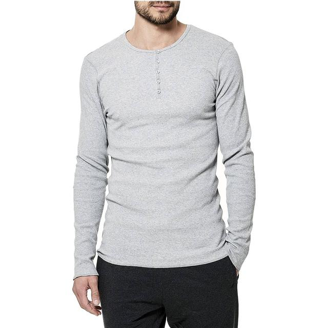 Bread and Boxers Henley T-shirt - Grey Melange