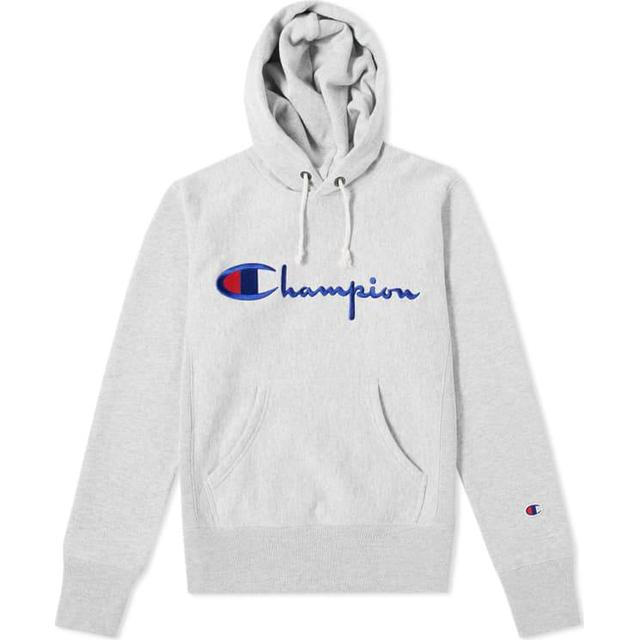 Champion Script Logo Reverse Weave Hoodie - Light Grey