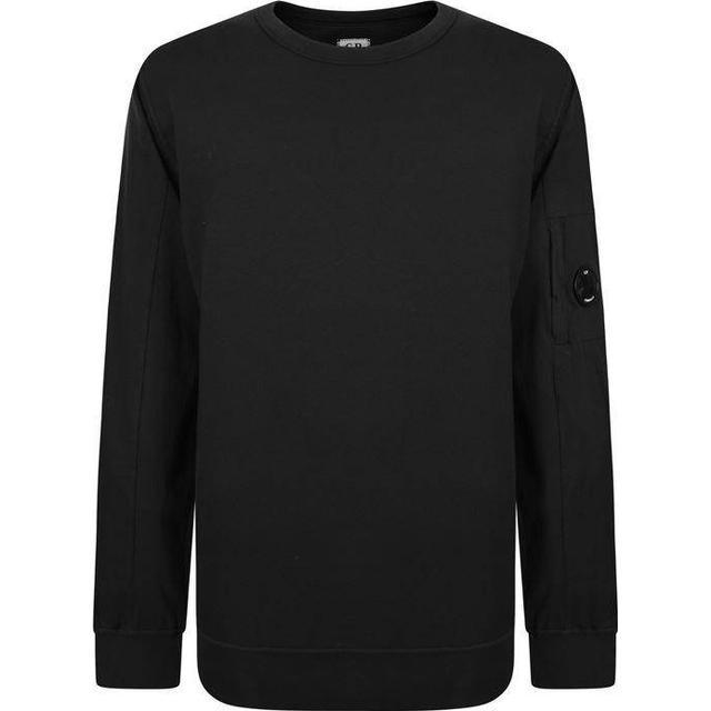C.P. Company Garment Dyed Light Fleece Lens Crew Sweatshirt - Black