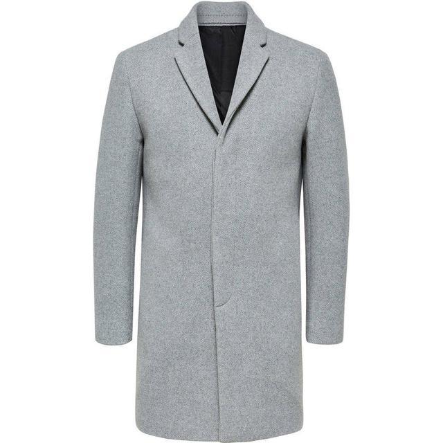 Selected Wool Coat - Grey/Medium Grey Melange