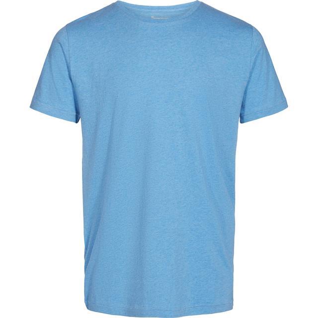 Knowledge Cotton Apparel Basic Regular Fit O-Neck Tee - Light Blue Melange