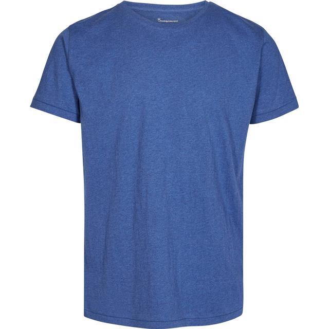 Knowledge Cotton Apparel Basic Regular Fit O-Neck Tee - Blue Melange