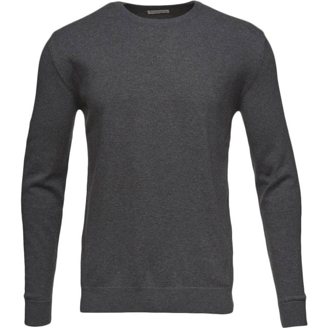Knowledge Cotton Apparel Basic O-Neck Sweatshirt - Dark Grey Melange