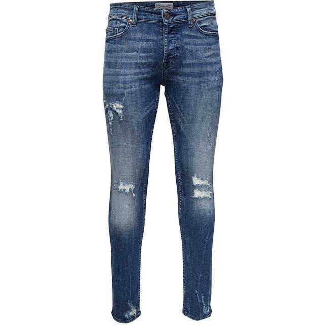 Only & Sons Spun Damage Slim Fit Jeans - Blue/Blue Denim