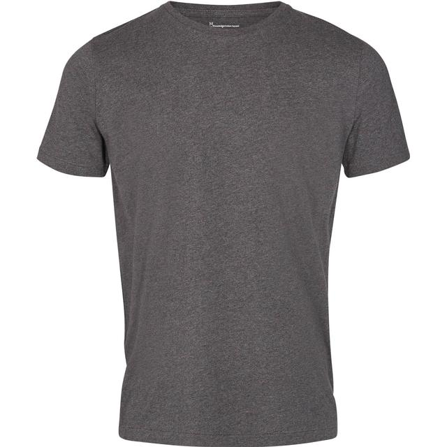 Knowledge Cotton Apparel Basic Regular Fit O-Neck Tee - Dark Grey Melange