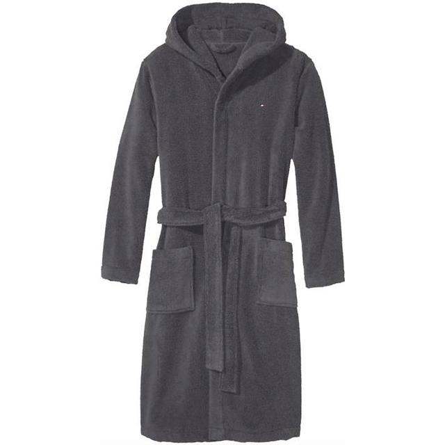 Tommy Hilfiger Pure Cotton Hooded Bathrobe - Magnet