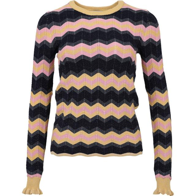 Neo Noir Nelle Chevron Knit Bluse - Yellow