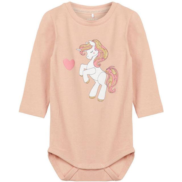 Name It Baby Glitter Printed Unicorn Romper - Pink/Rose Cloud (13159697)