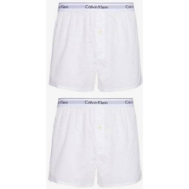 Calvin Klein Modern Cotton Slim Fit Boxers 2 pack - White/White