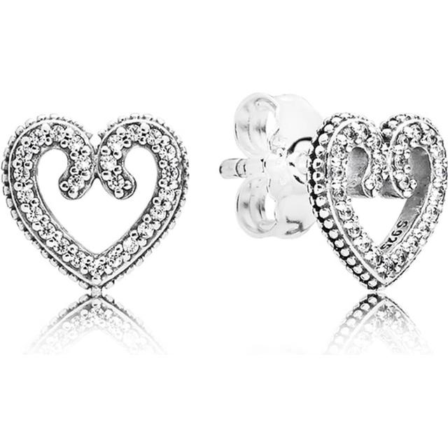 Pandora Heart Swirls Stud Silver Earrings w. Cubic Zirconia (297099CZ)