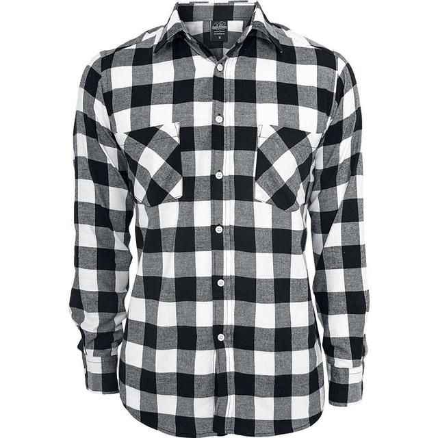 Urban Classics Long Checked Flanell Shirt - Black/White
