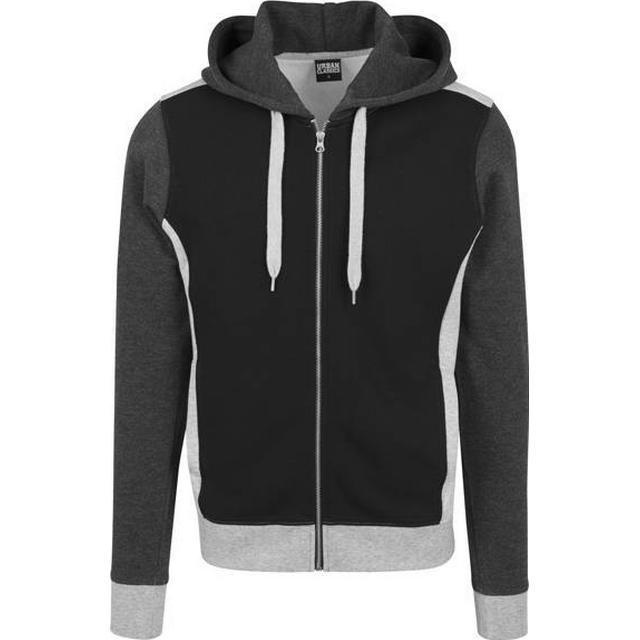 Urban Classics 3-Tone Sweat Zip Hoody - Black/Grey/Charcoal