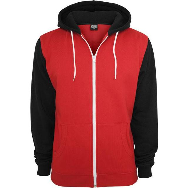 Urban Classics Relaxed 3-Tone Zip Hoody - Red/Blk/Wht