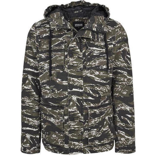 Urban Classics Tiger Camo Cotton Jacket - Olive/Black/White
