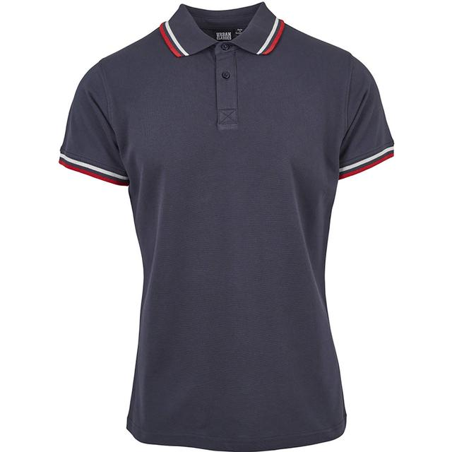 Urban Classics Double Stripe Polo Shirt - Navy/White/Fire Red